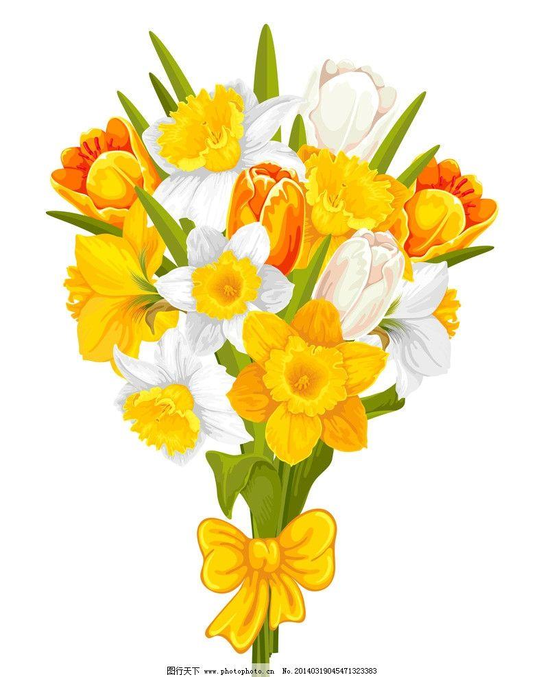 手绘花卉 春天 绿叶 黄花 郁金香 春季 花纹花卉 鲜花 花草背景