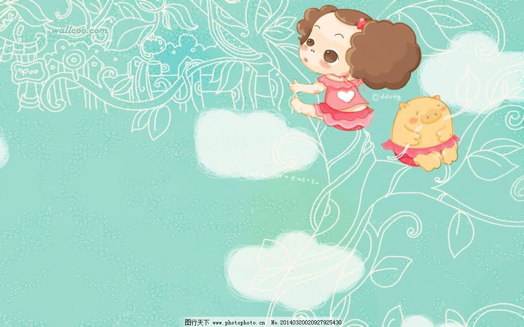 小女孩可爱蓝色卡通背景