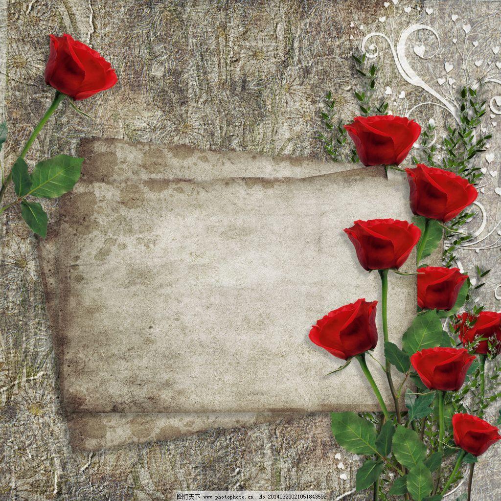 古典唯美玫瑰花装饰相框背景高清图片