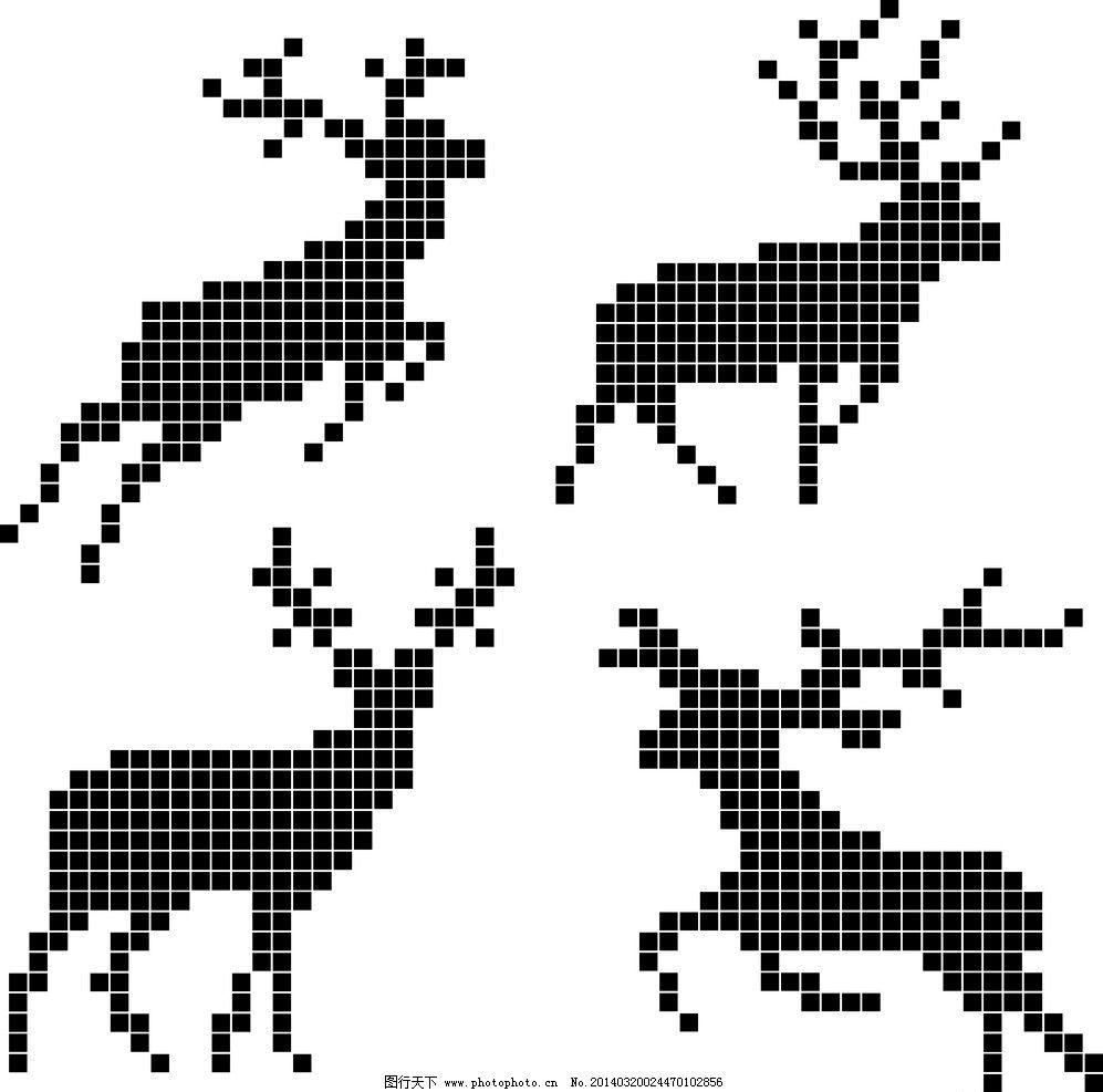 像素鹿 像素艺术 像素画 创意 矢量素材