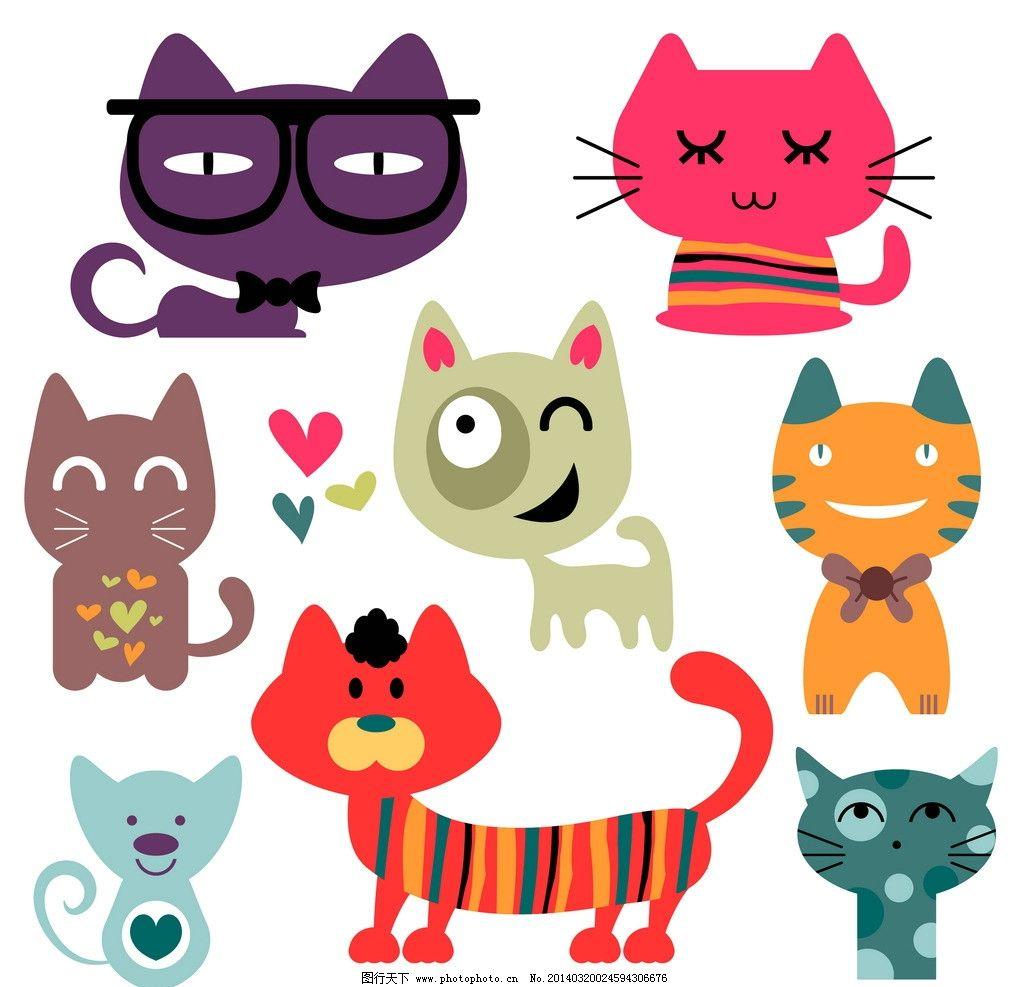 卡通猫 猫 猫咪 宠物 卡通 可爱 动物 表情 有趣 幽默 动物家禽家畜
