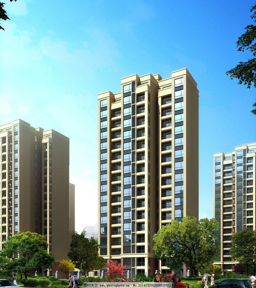 高层立面 建筑 立面图        设计 素材 盆景 绿化景观 小广场 3d