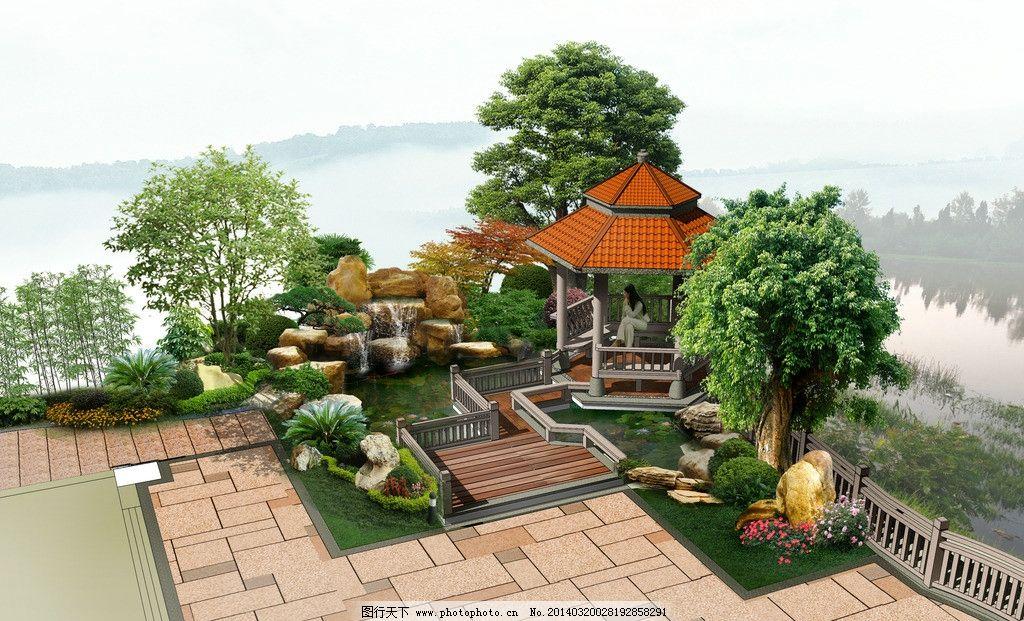 庭院小景 别墅庭院景观鸟瞰