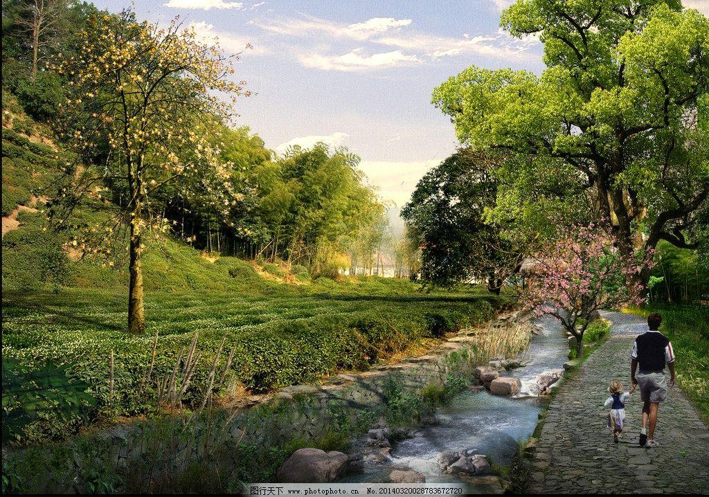 溪流边茶园步行效果图 乡村 农家乐 特色 茶园 茶叶 步行道 游步道