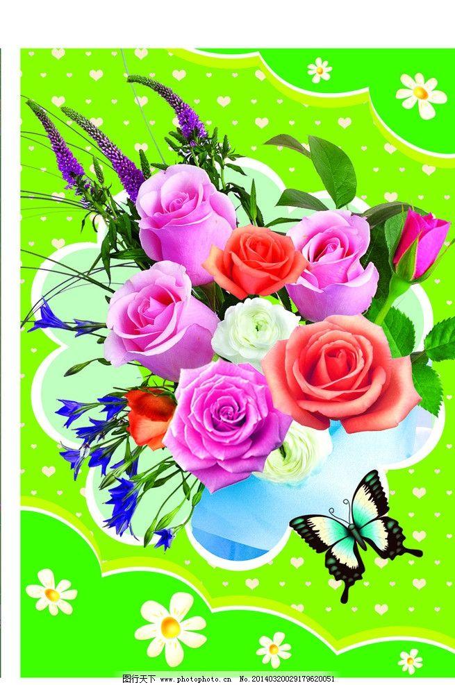 鲜花手提袋 鲜花卡片 玫瑰 桃心 卡片模版 蝴蝶结 广告设计模板