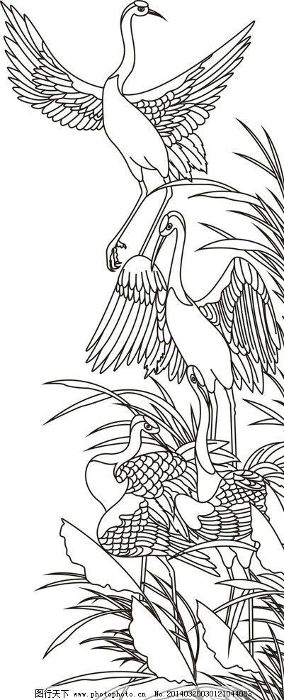 松鹤 松树 仙鹤 矢量 线条松鹤 雕刻 线刻 矢量素材 其他矢量