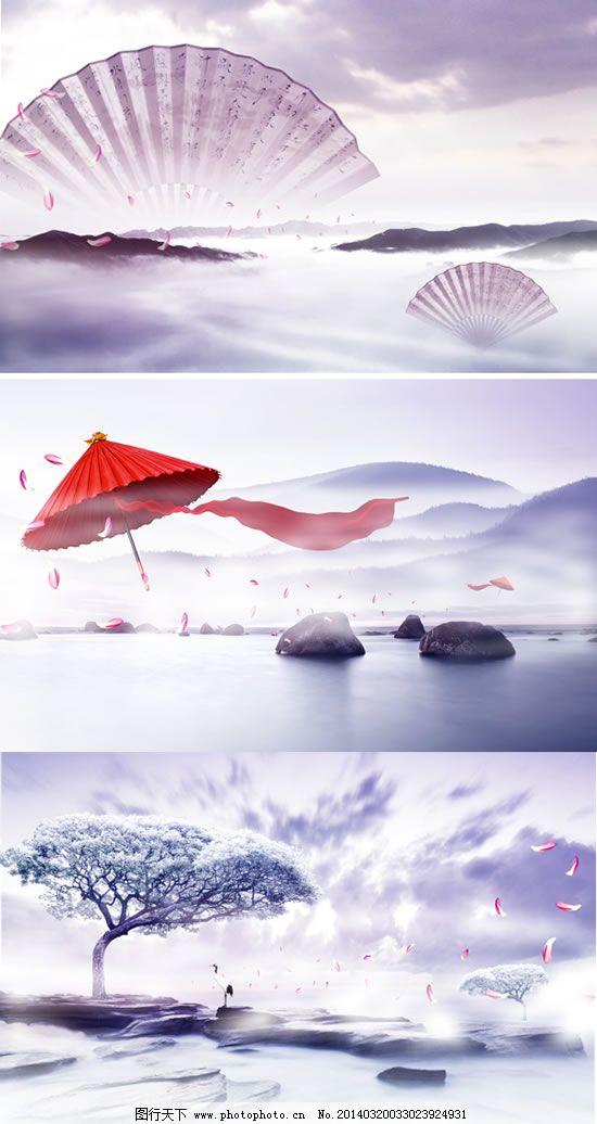 唯美古风中国纸扇红色油纸伞