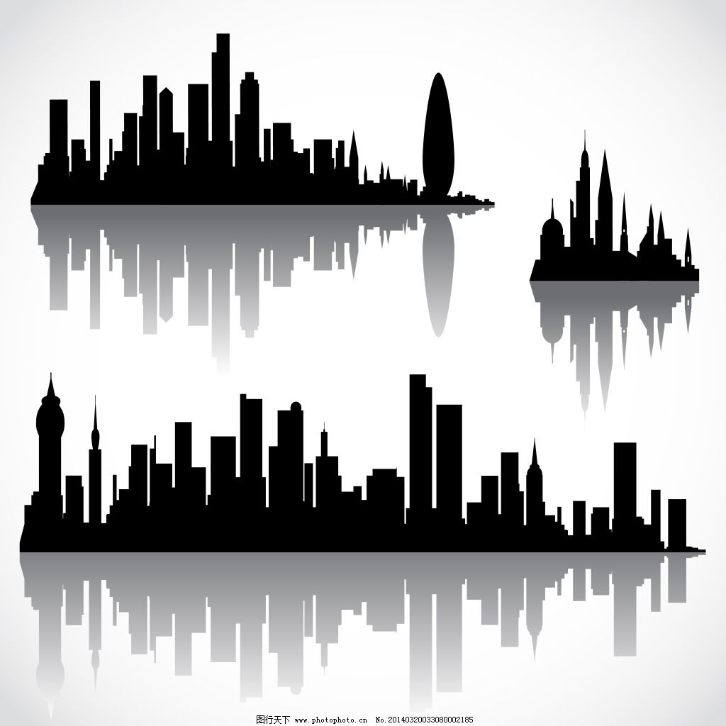 黑白城市抽象图