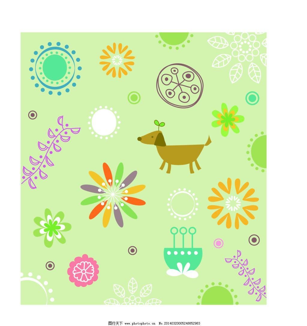 底纹 花朵 小动物 花朵 底纹 小动物 矢量图 花纹花边
