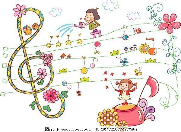 儿童 房子 蝴蝶 花朵 可爱 五线谱 向日葵 小女孩 音符 音乐 小女孩