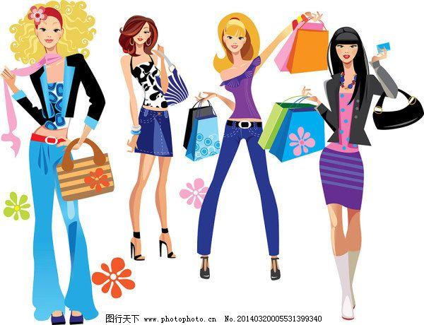都市 购物 购物袋 花纹 卡通美女 卡通人物 美女 女人 卡通人物 彩绘图片