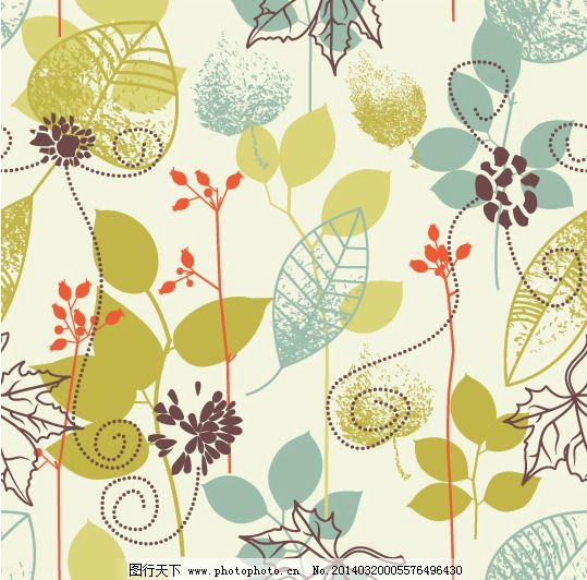 手绘植物花纹元素矢量素材-4
