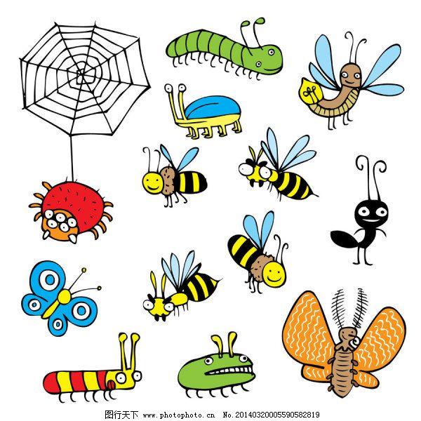 手绘昆虫-矢量素材