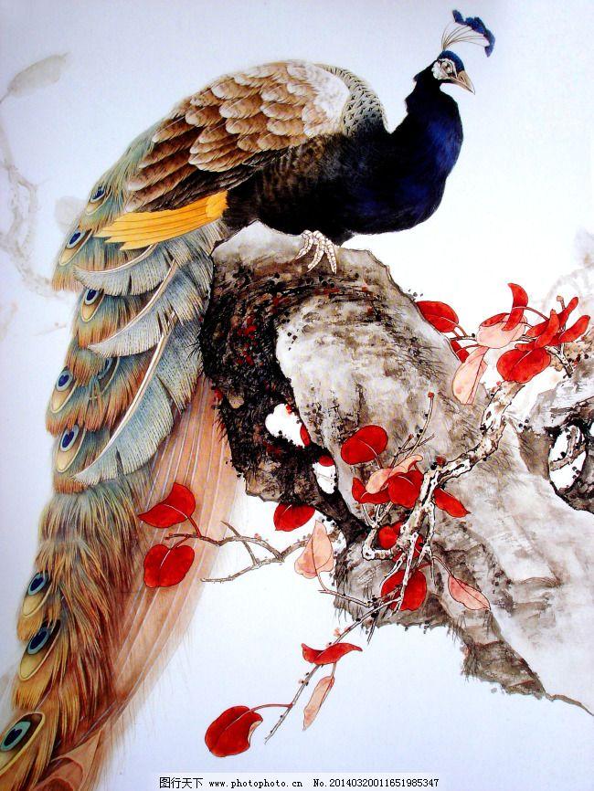 水墨孔雀免费下载 工笔画 假山 牡丹 工笔画 假山 牡丹 装饰素材 室内