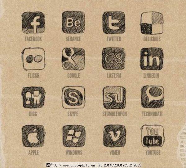 apple facebook twitter windows 常用 手绘 图标 涂鸦 网页 图标