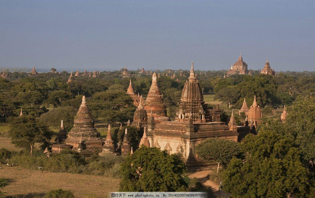 蒲甘佛塔 缅甸 蒲甘 佛塔 塔群 丛林 天空 万塔之都蒲甘 国外旅游