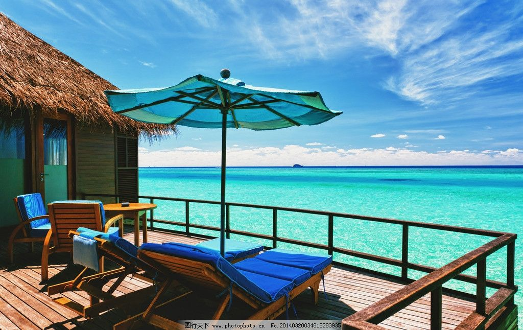 海岛 海滩 椰树 旅游 别墅 度假 森林 休闲 蓝天 白云 沙滩