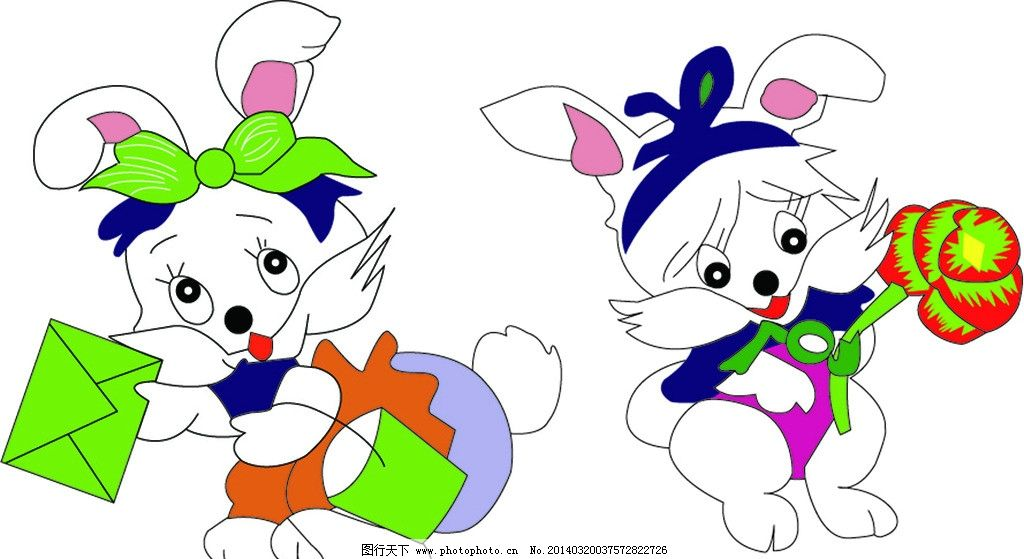 小白兔 矢量兔子 卡通兔子 花 生肖 信封 卡通画 卡通设计 广告设计