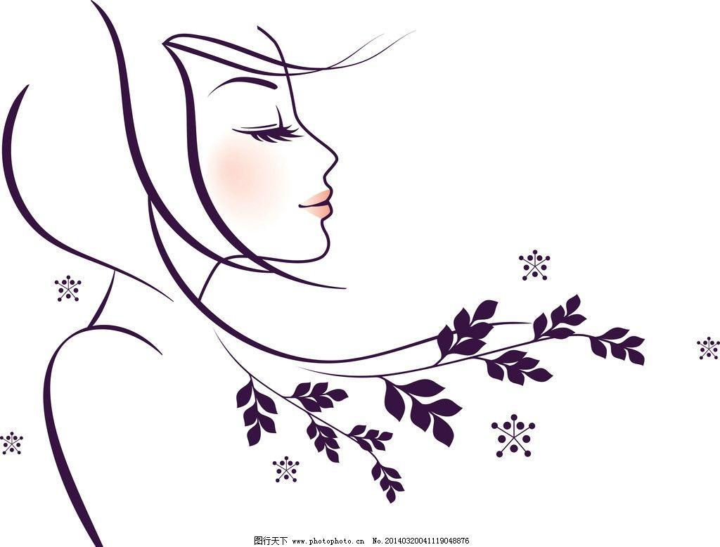 手绘美女 手绘少女 女孩 女人 美丽 浪漫 线描 头发 发型 长发