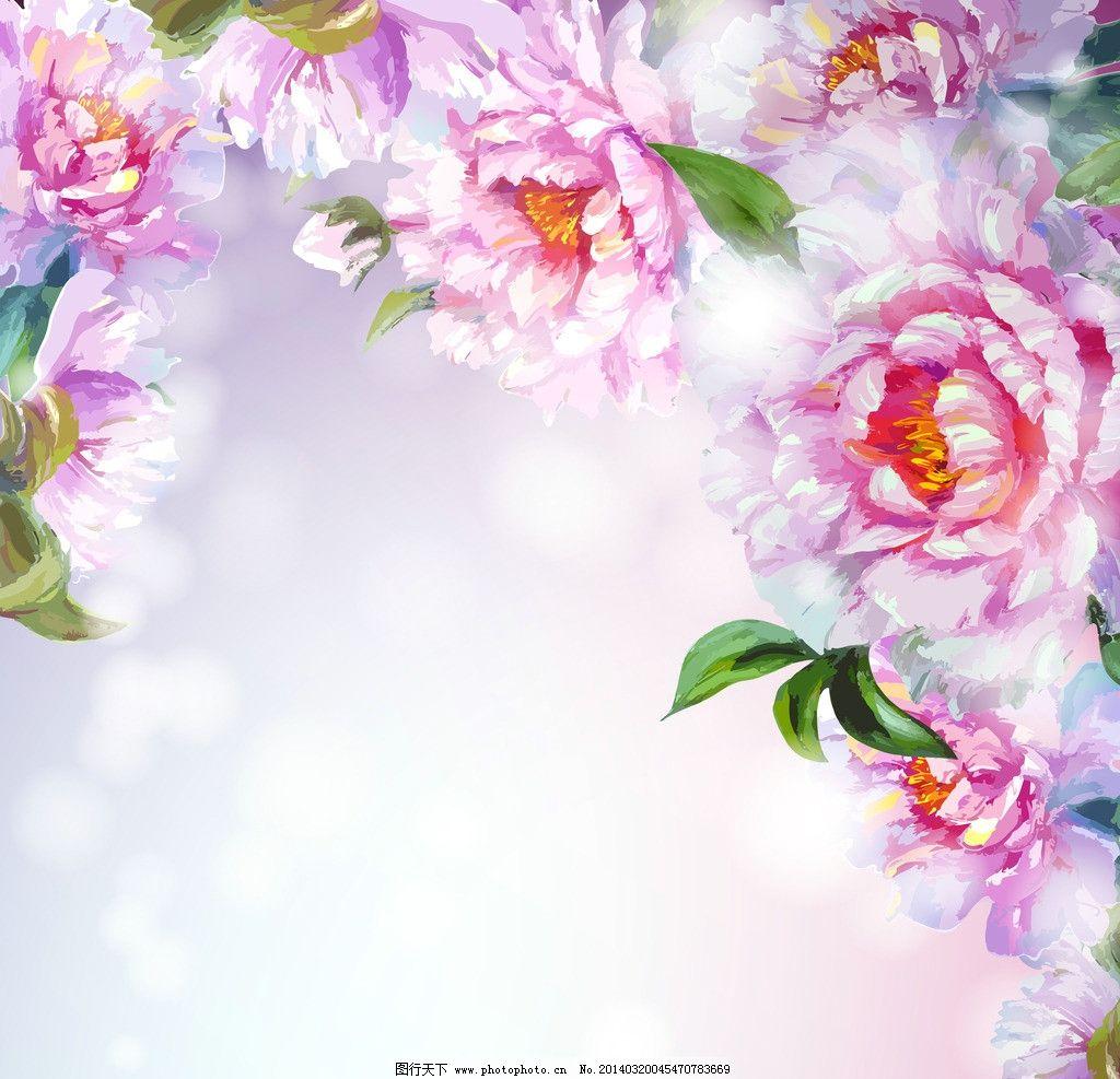 鲜花 梦幻花卉 逼真 油画 手绘 牡丹画 水墨花卉 绿叶 花草背景 花草