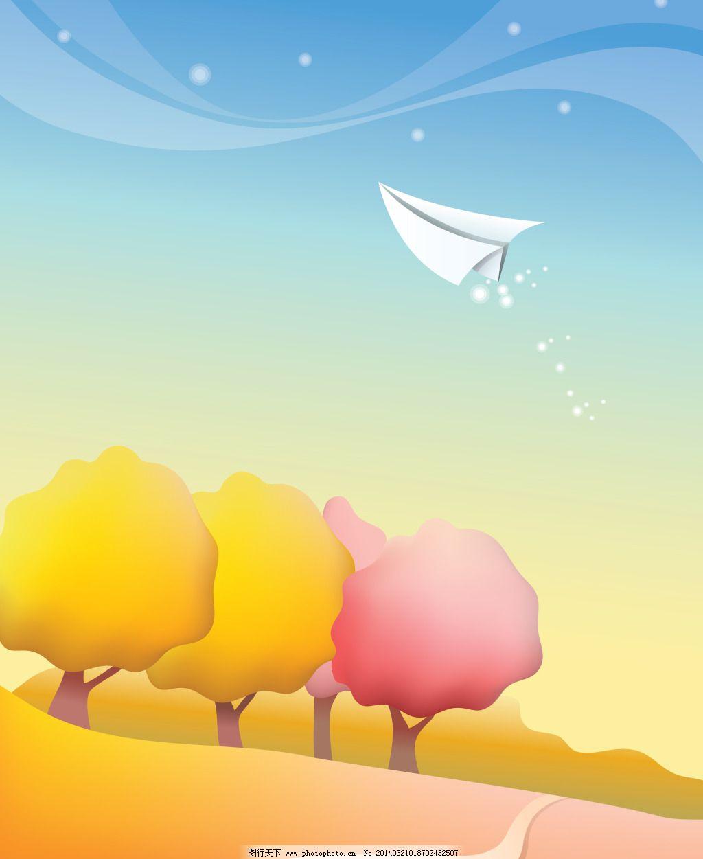 秋天 秋天免费下载 大树 秋叶 纸飞机 图片素材 卡通动漫可爱图片