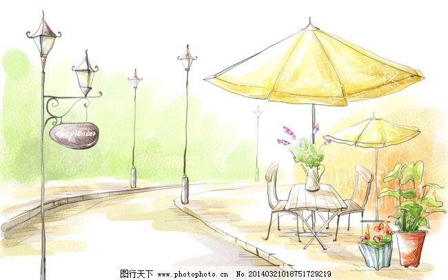 小清新咖啡厅手绘