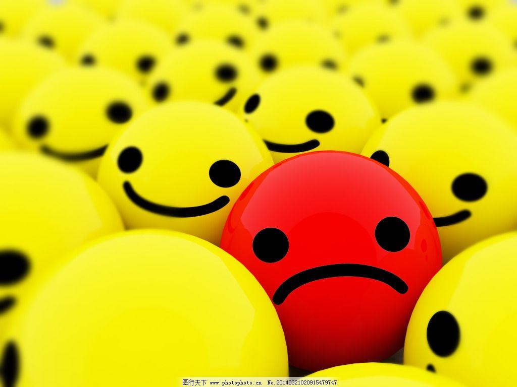 高清2d黄色笑脸和红色哭脸背景图片