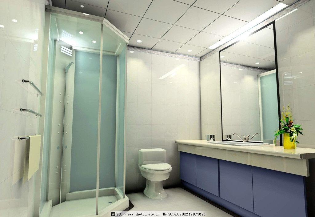 卫生间效果图               玻璃 卫浴 厕所 铝扣吊顶 3d作品 3d设计