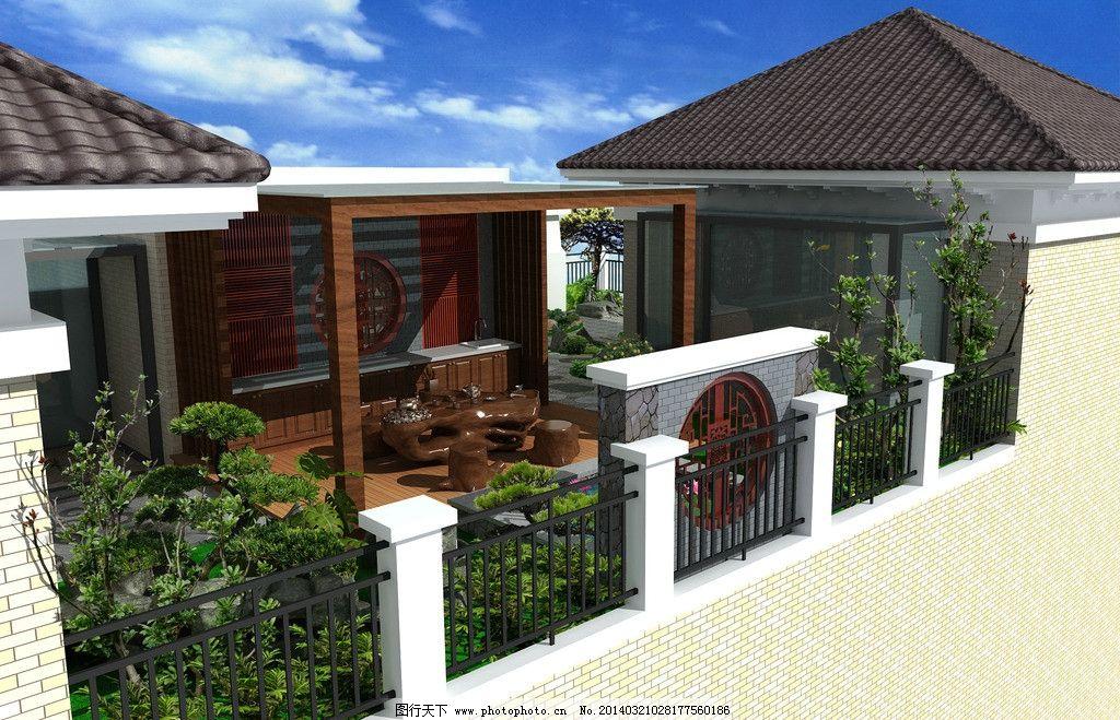天台花园 日式庭院 中式庭院 景墙 花架 木地台 私家庭院设计