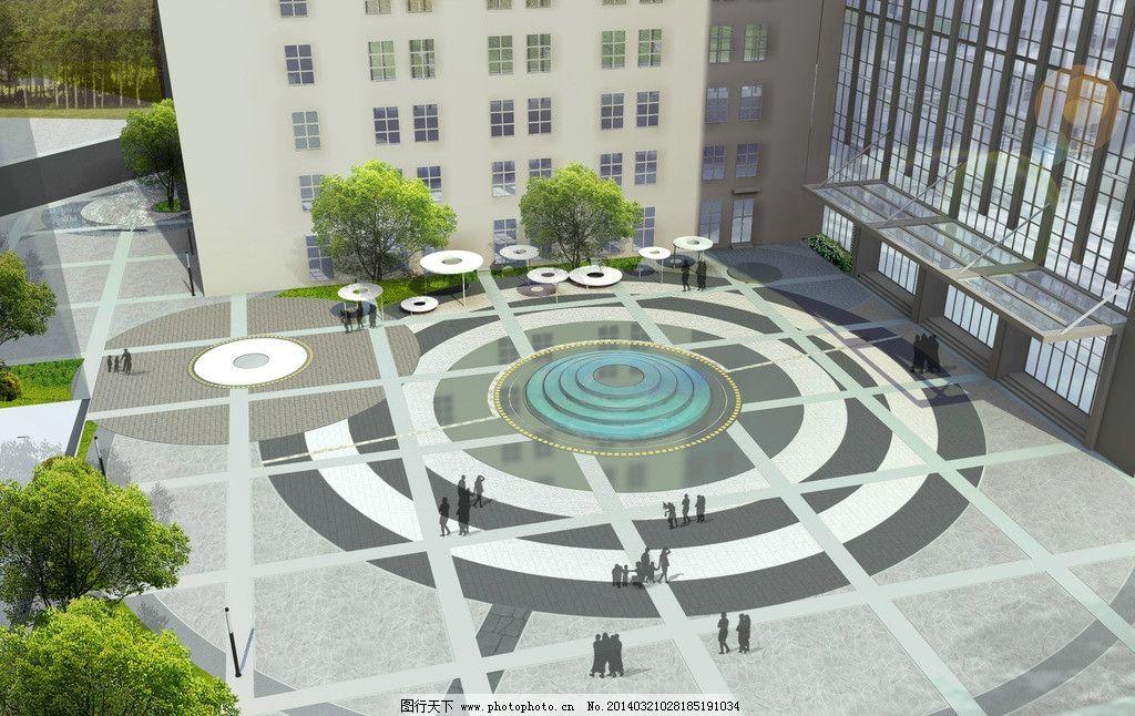 广场效果图 广场 景观 溢水池 鸟瞰 圆形 景观设计 环境设计 设计 72