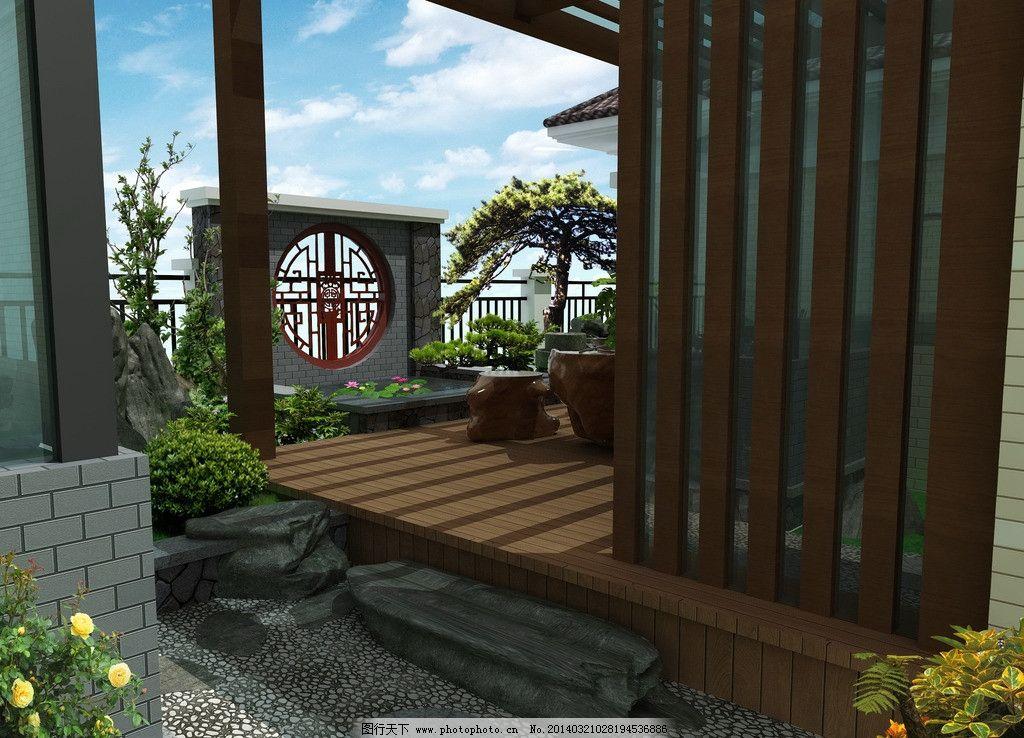 小庭院 日式庭院 天台花园 中式庭院 景墙 花架 木地台 私家庭院设计