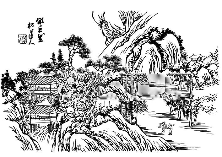 山水画免费下载 古代山水 山水 山水 雕刻山水画 线描山水 古代山水