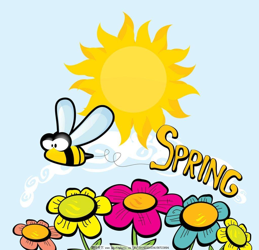 春天花卉 卡通蜜蜂 蜻蜓 花朵 太阳 矢量 卡通 春天 spring 花卉 生物
