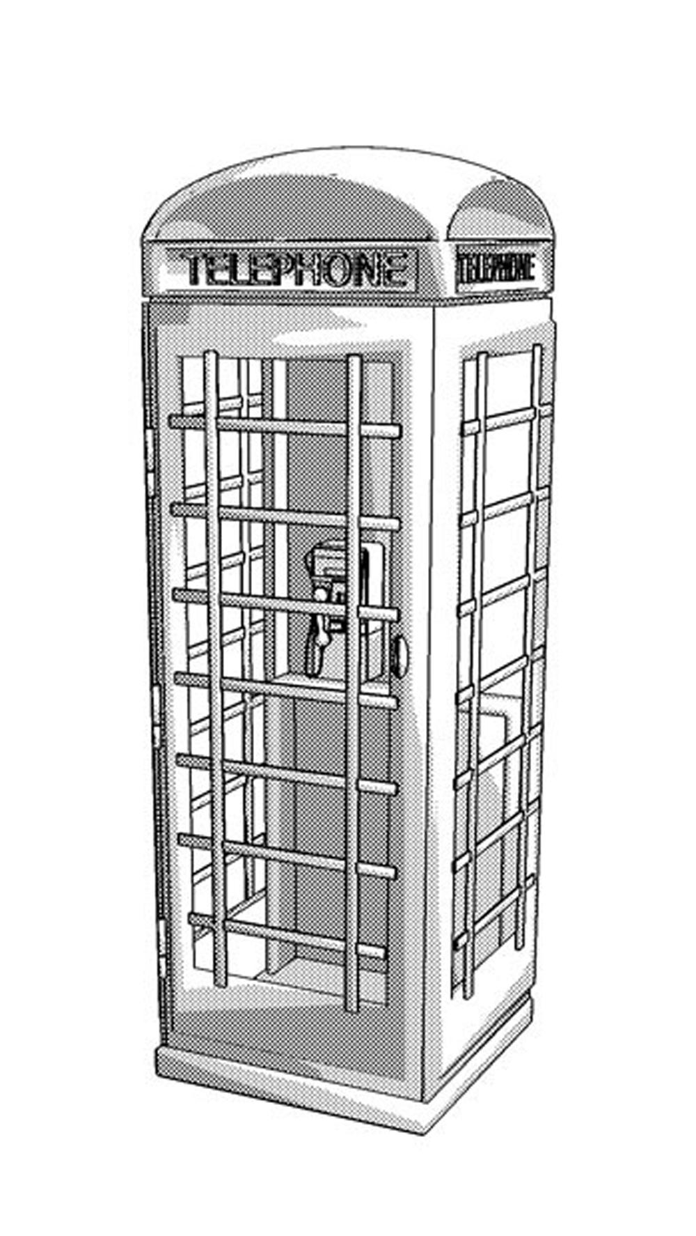 手绘画 手绘画免费下载 电话亭 复古 图片素材 卡通动漫可爱图片