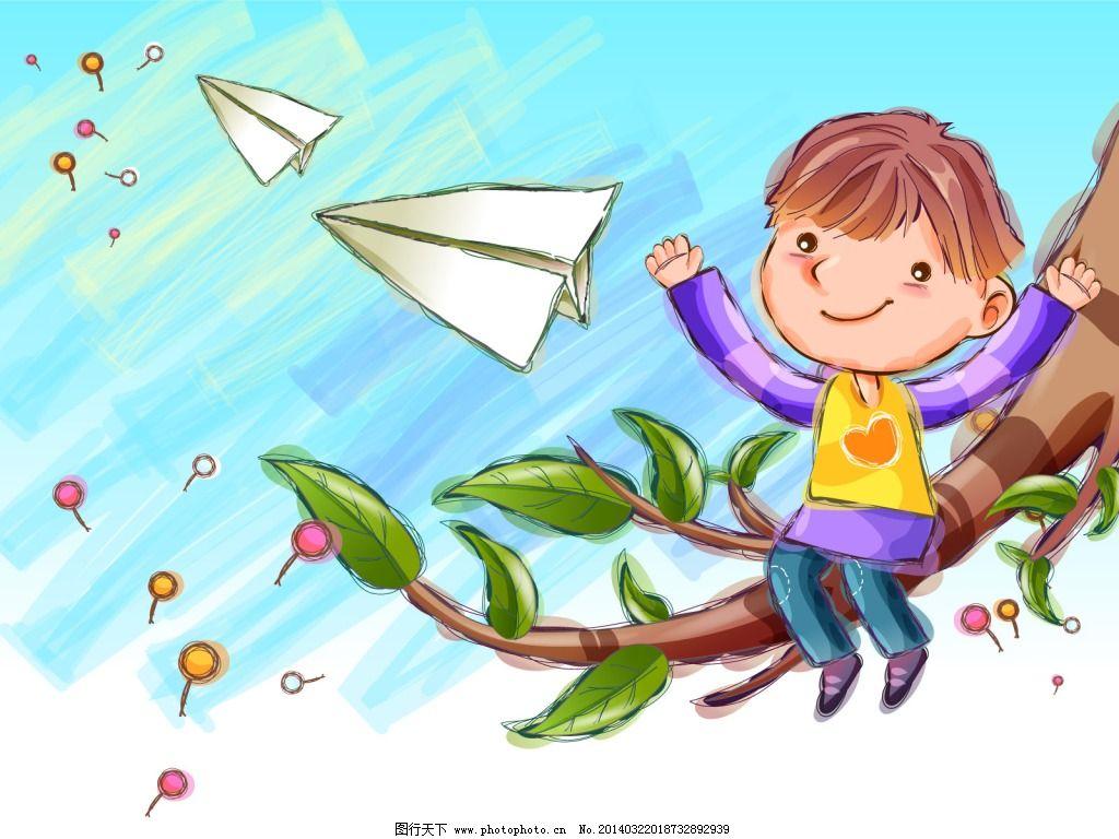 童年卡通投纸飞机的小男孩