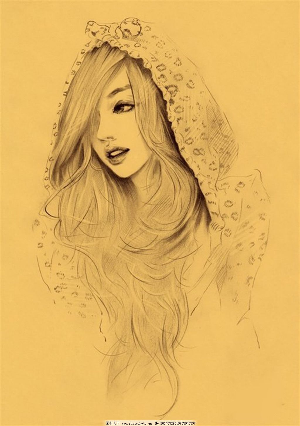 美女 手绘 素描 素描 美女