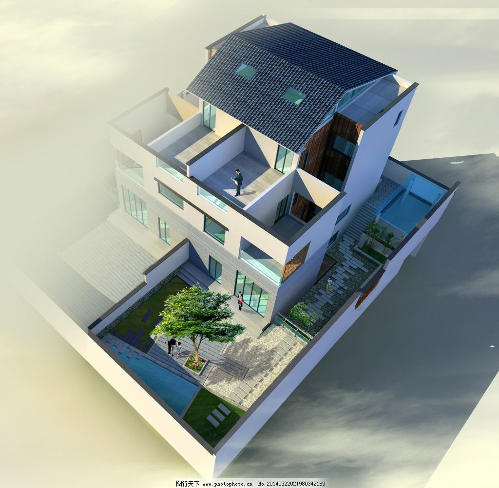 3d中式建筑模型图片