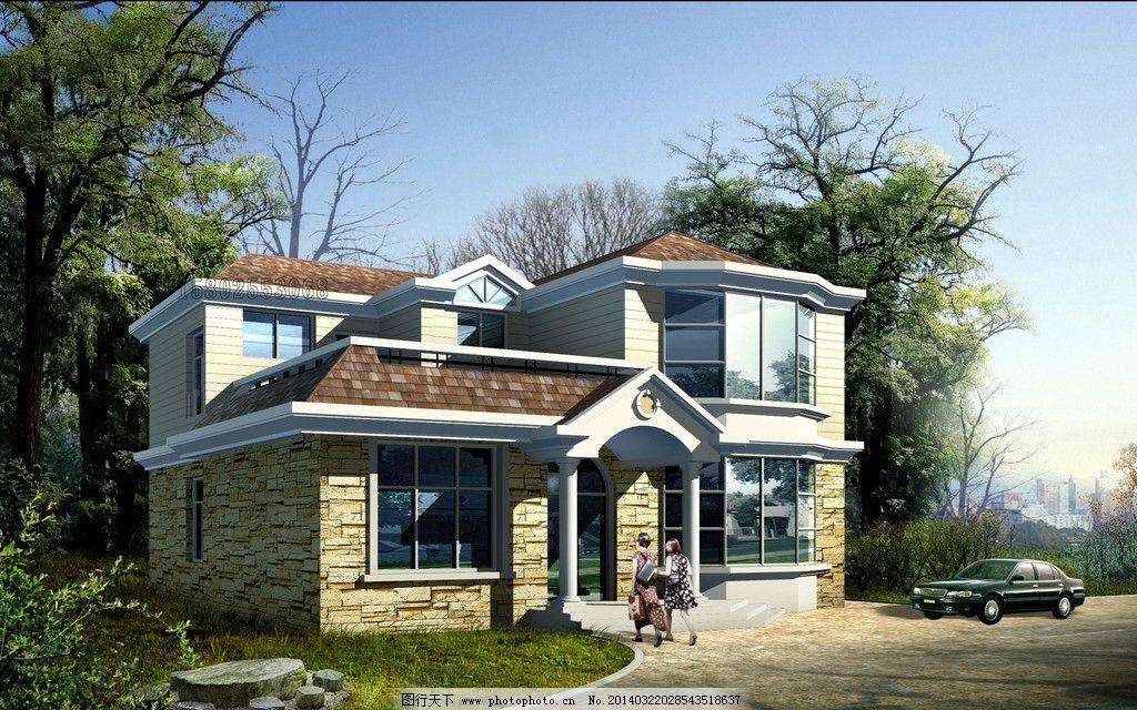 二层别墅效果图 古典木结构别墅 别墅建筑 别墅设计 农村别墅 豪华
