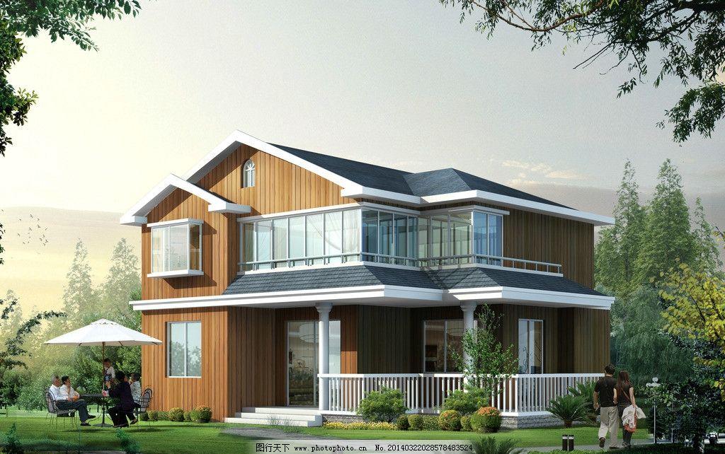 古典木结构别墅 别墅效果图