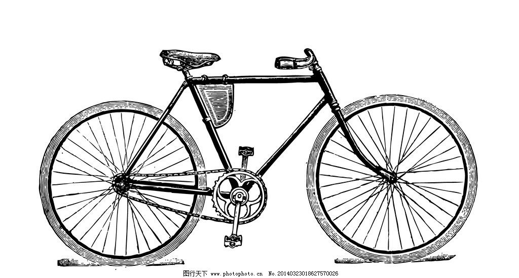 老式二八自行车手绘图图片