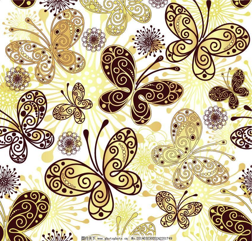 蝴蝶 古典花纹 花纹 花朵 古典背景 古典底纹 唯美背景 布花 花布