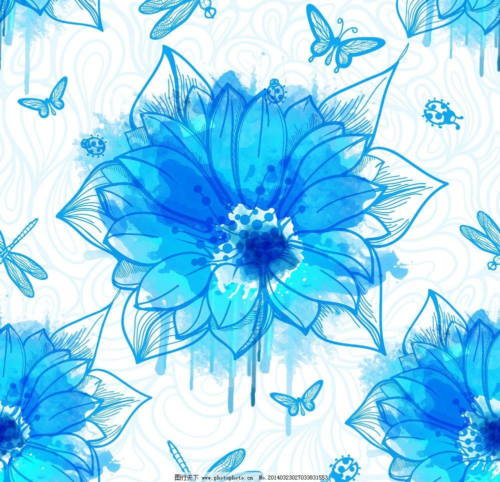 水墨花卉 手绘花卉 绿叶 莲花 昆虫 蜻蜓 蝴蝶 水彩 墨迹 墨痕