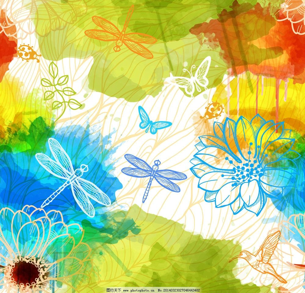 水墨花卉 手绘花卉 绿叶 莲花 蜻蜓 蝴蝶 水彩 墨迹 墨痕 墨点