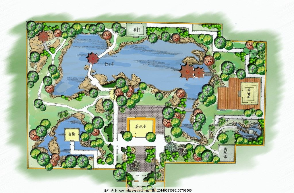 手绘平面效果图 广场 效果 水景 景观 平面 景观设计 环境设计 设计