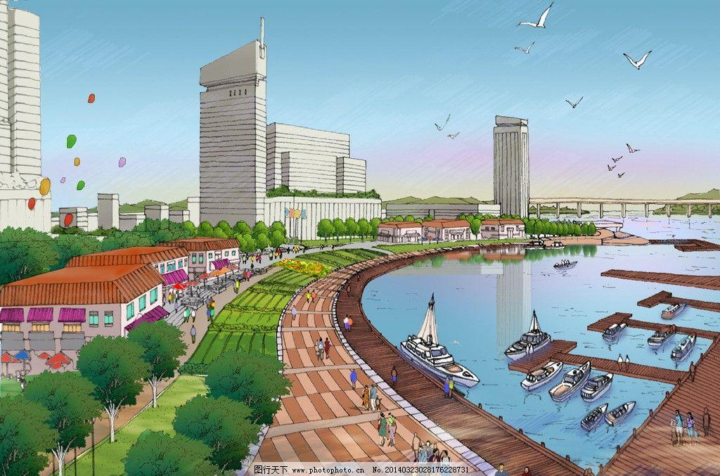 手绘鸟瞰图 广场 效果 水景 办公 建筑 景观设计 环境设计