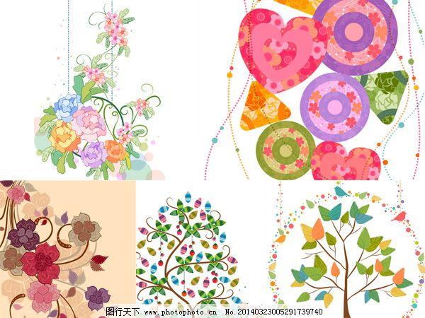花纹藤蔓小鸟 插画 花藤 曲线 矢量图 树木 树叶 图案 花纹藤蔓小鸟