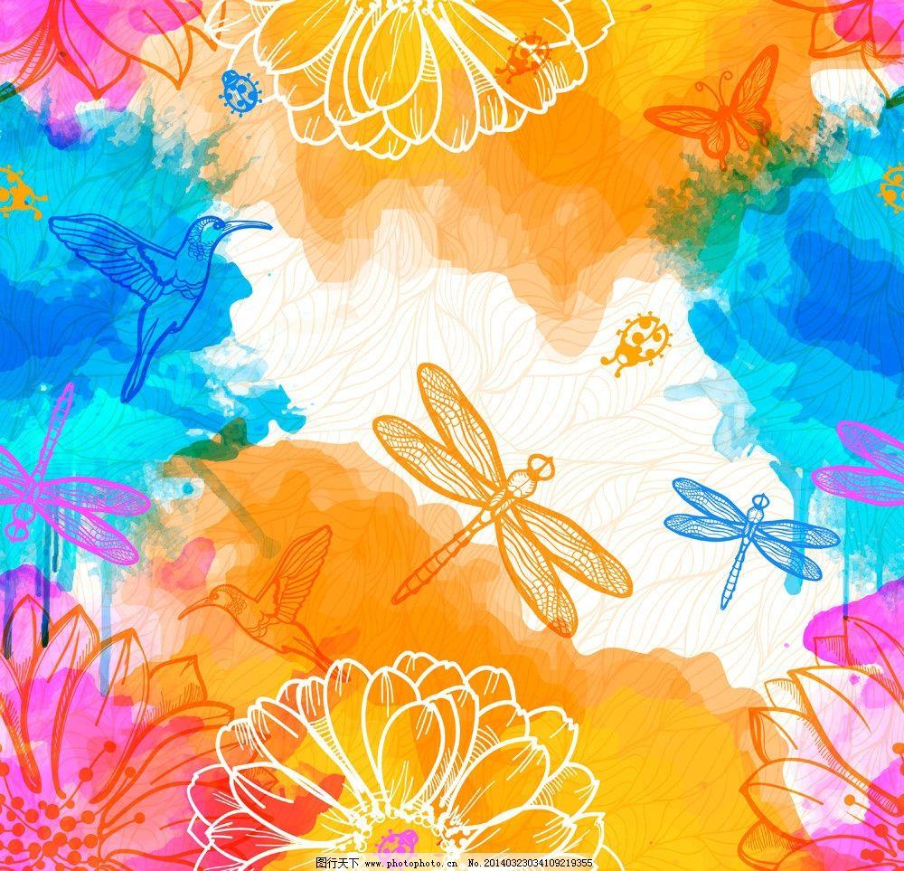 水墨花卉 手绘花卉 花卉 绿叶 莲花 昆虫 蜻蜓 水彩 水墨 墨迹 墨痕