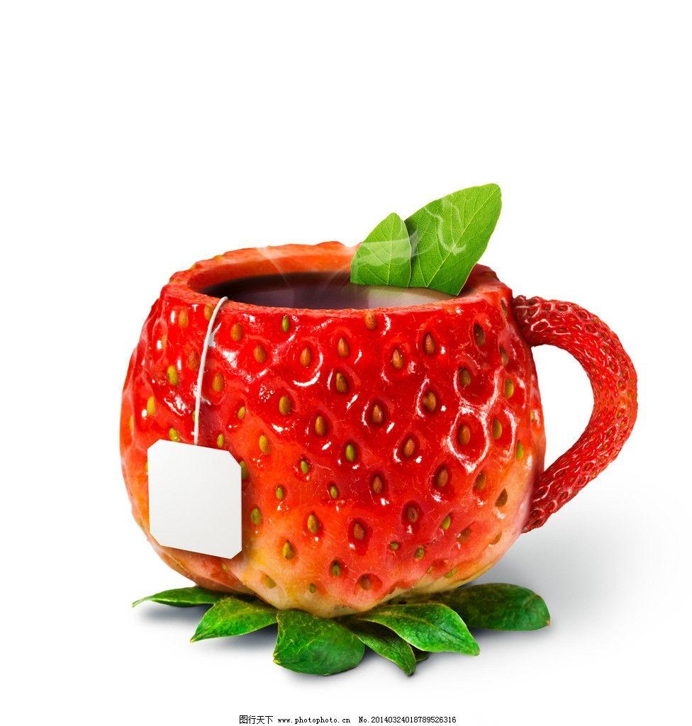 草莓茶杯_可爱卡通_动漫卡通_图行天下图库