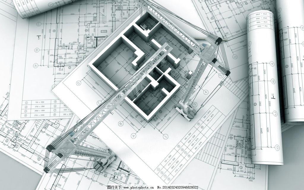 三维建筑cad剖面图 创意 房屋 图纸 银色 图片素材 背景图片