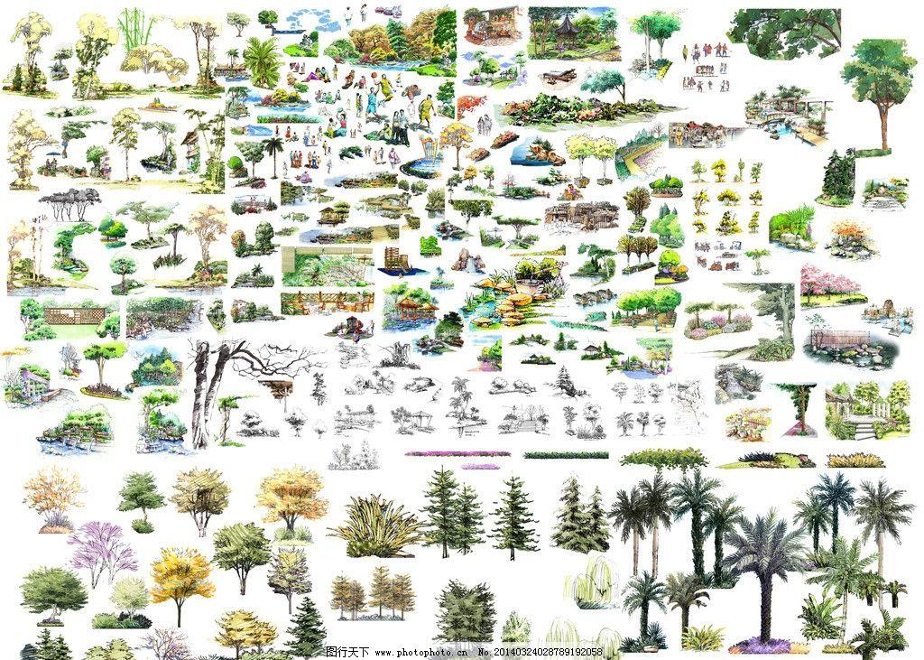 园林景观手绘立面树 规划 效果图 立面图 剖面图 断面图 源文件